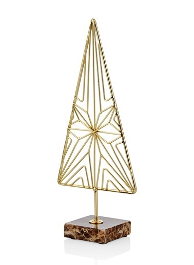 The Mia Üçgen Dekoratif Ürün 9.8x4x22.5 Cm Altın